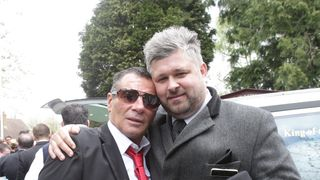 Paddy Doherty (l), the star of Big Fat Gypsy Wedding and funeral director Paul Brown ahead of the funeral of Mr Doherty's father Simon.