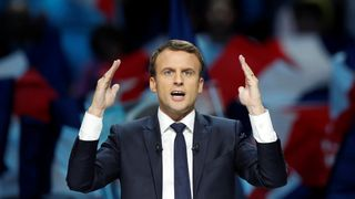 Emmanuel Macron campaigning in Paris on 17 April