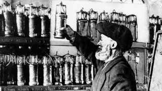 Storing miners' safety lamps (known as Davy Lamps) at the Lewis Merthyr Colliery in Pontypridd, near Cardiff.