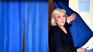 Marine Le Pen cast her vote in Henin-Beaumont in northern France