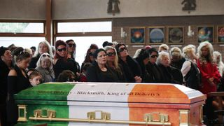 The family chose a typically understated casket