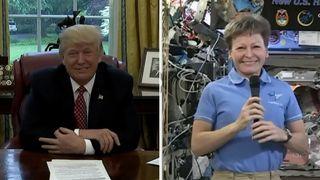 Donald Trump congratulating Peggy Whitson