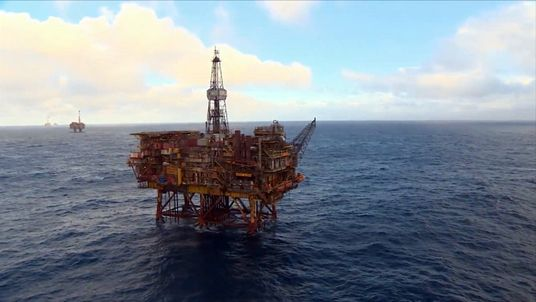 A Shell oil rig in the North Sea