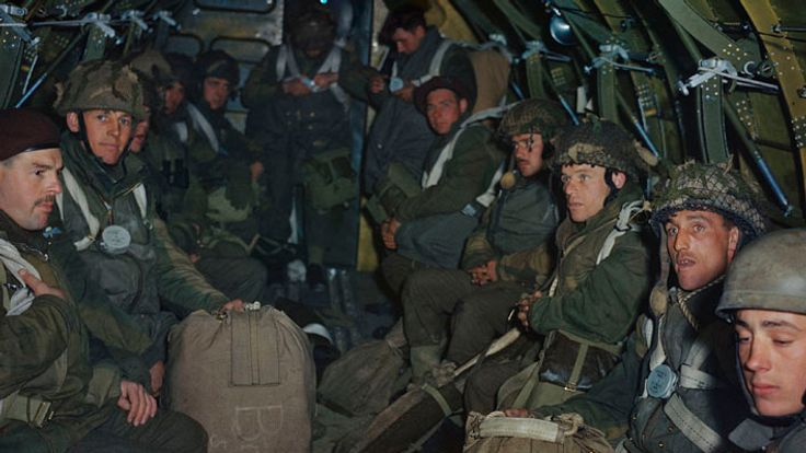 British paratroopers preparing for a practice jump from an RAF Dakota based at Down Ampney in Wiltshire, 22 April 1944