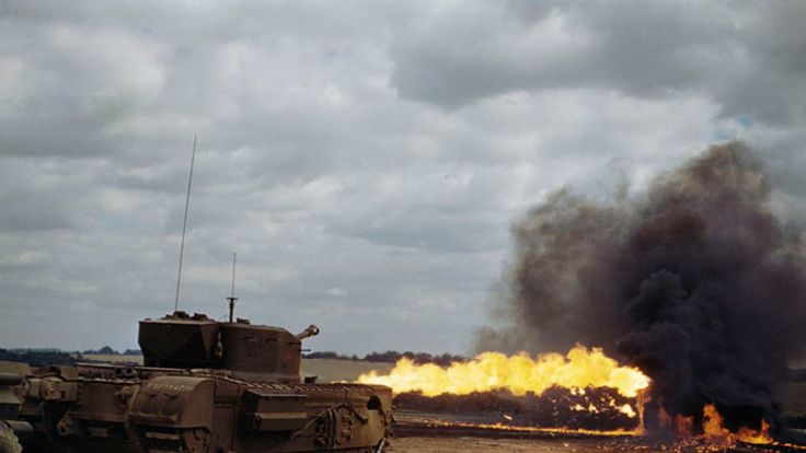 A Churchill Crocodile flamethrower tank in action, August 1944