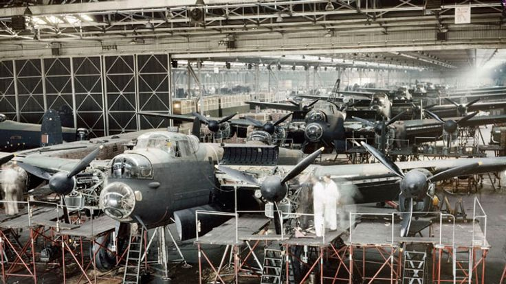 Lancaster bombers nearing completion in Avro's assembly plant at Woodford near Manchester, 1943