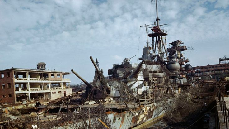 The German heavy cruiser Admiral Hipper abandoned in dry dock at Kiel, May 1945