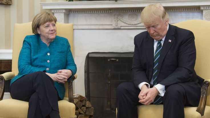 Angela Merkel and Donald Trump meet at the White House