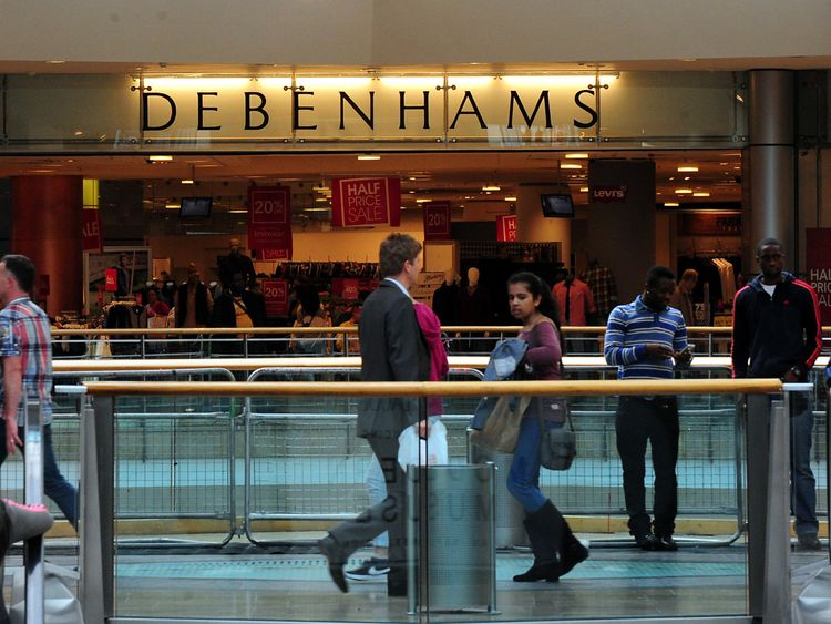 General view of Debenhams shop at the Bullring, Birmingham