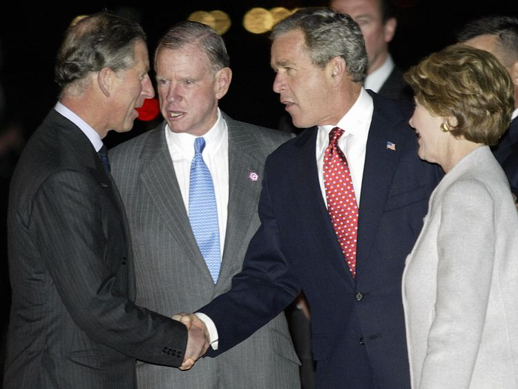 Prince Charles with President Bush and William Fraish, second left