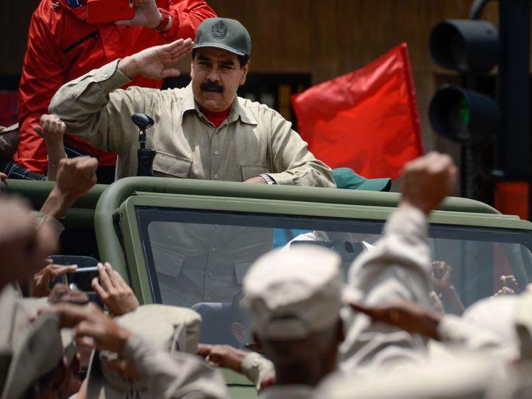 President Nicolas Maduro delivers a speech in Caracas