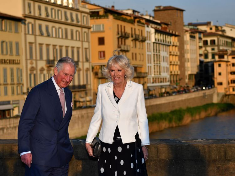Prince Charles and Camilla in Florence at the start of the tour