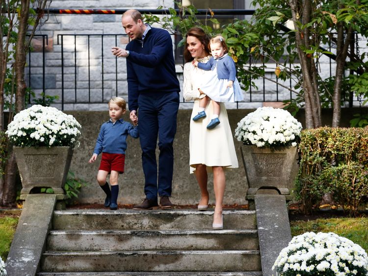 Prince William. the Duchess of Cambridge, Prince George (L) and Princess Charlotte (R)
