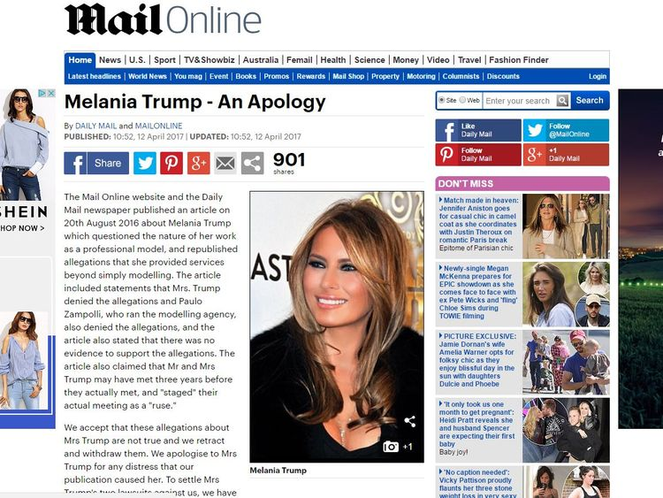 The Daily Mail apologised to Mrs Trump 'for any distress that our publication caused her'
