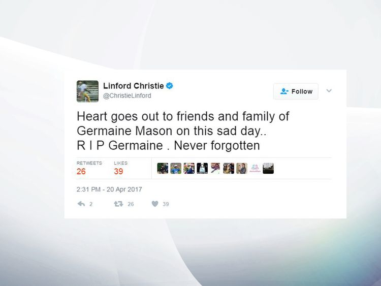 1992 Olympic sprint champion Linford Christie tweeted of his sadness at the news