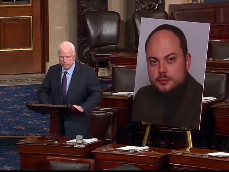 John McCain speaks in the Senate about Russian opposition activist Vladimir Kara-Murza