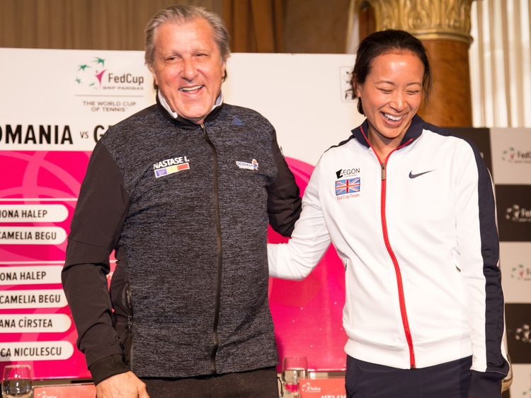 Ilie Nastase with Great Britain captain Anne Keothavong