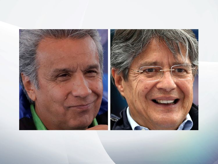 Presidential candidates Lenin Moreno (L) and Guillermo Lasso