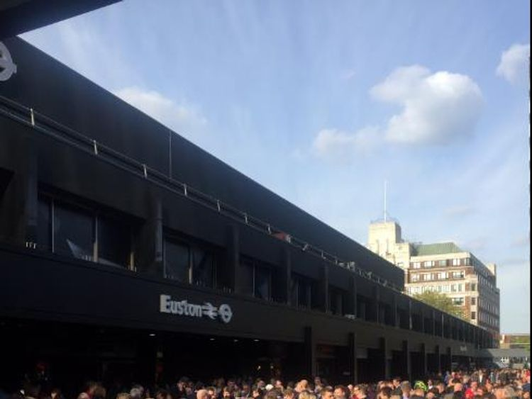 Crowds outside Euston station, Britain's fifth busiest: Picture: Phil Hulme