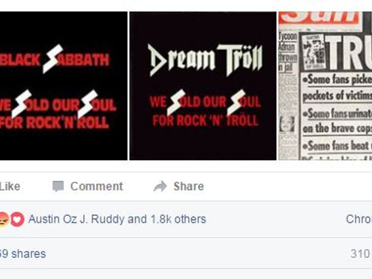 Shadow justice secretary Richard Burgon posts Dream Troll's poster next to a Black Sabbath album cover on Facebook in defence of the band, who have been accused of being Nazi supporters by The Sun.