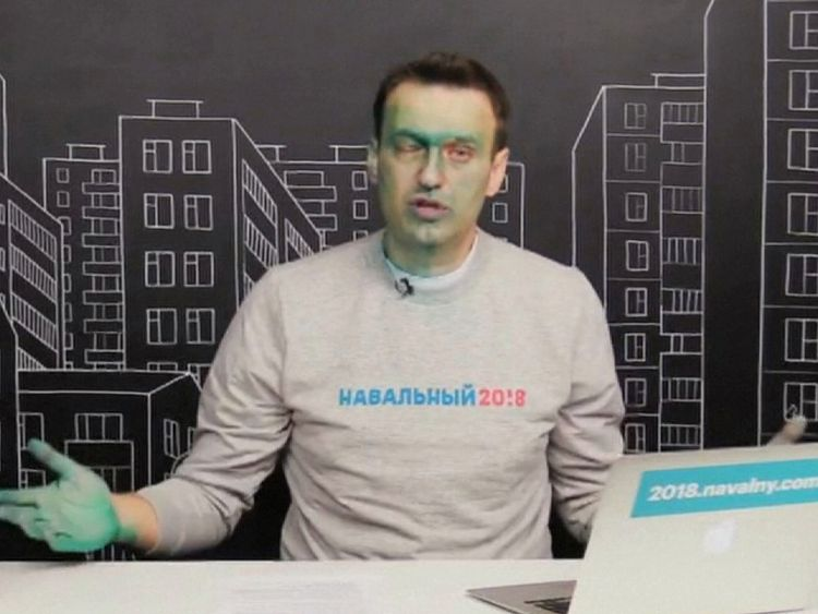 In an online broadcast, Alexei Navalny confirmed he had suffered a chemical burn in his right eye and had to go to a hospital