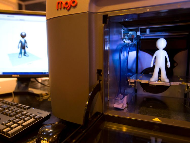 A 3D Mojo printer made by the Stratasys company