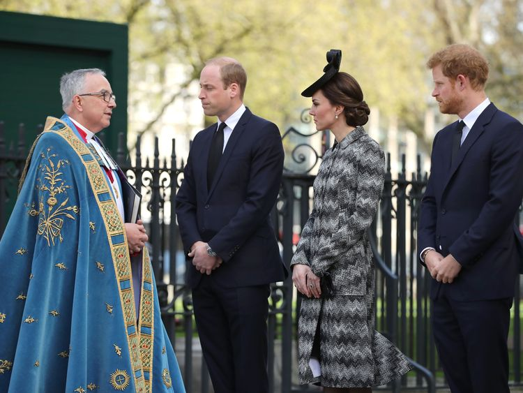 The Very Reverend Dr John Hall, Dean of Westminster receives Prince William, Duke of Cambridge, Catherine, Duchess of Cambridge and Prince Harry