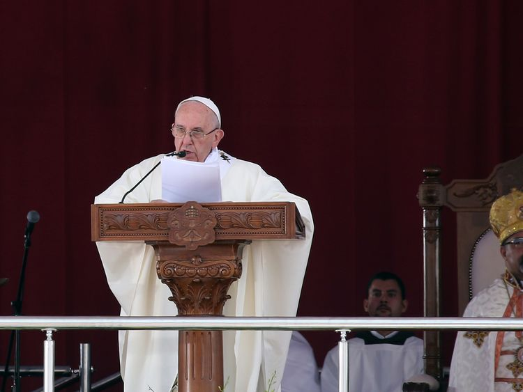 Pope Francis leads a mass in Cairo