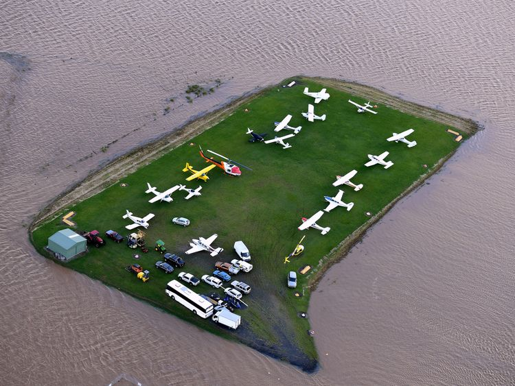 The airport at Lismore is surrounded by floodwaters