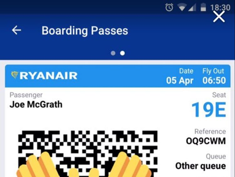 Joe's boarding pass only had his name on it