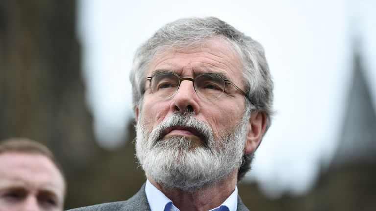 Sinn Fein President Gerry Adams pictured as gives his reaction to the EU Referendum vote at a press conference outside Stormont Castle on June 24, 2016 in Belfast, United Kingdom