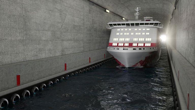 A ship going through the tunnel. Photos by Kystverket/ Norwegian Coastal Administration