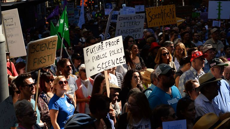 Protesters take part in the March for Science in Sydney