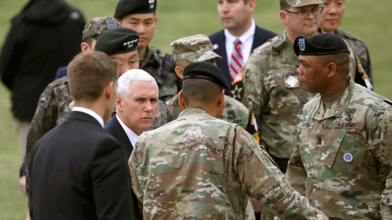 Mike Pence is meeting military leaders and troops at Camp Bonifas