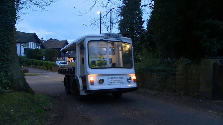 A milk float on the morning round in Coventry