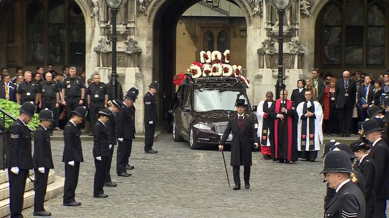PC Keith Palmer's coffin leaves the Palace of Westminster for Southwark Cathedral