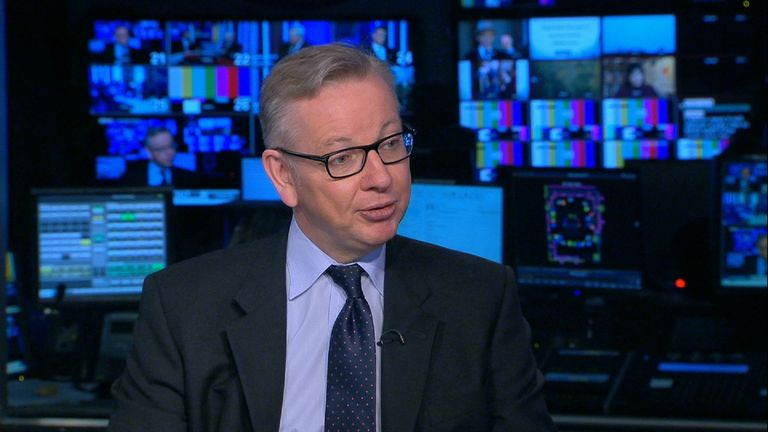 Michael Gove in the Millbank studio.