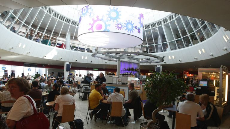 A view of a bar inside Terminal 3 at Manchester Airport