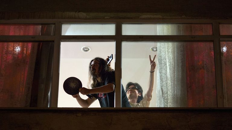 People in Istanbul banged pots and pans from their windows in protest at the result