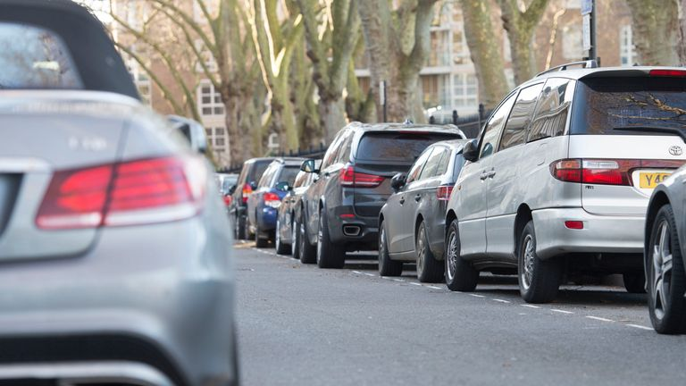 A file photo of cars parked