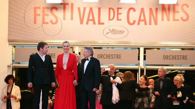 Mathieu Amalric, Emmanuelle Seigner and Roman Polanski at the Venus In Fur premiere in Cannes