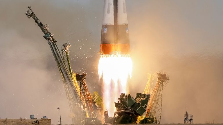 The Soyuz MS-04 spacecraft lifts off from the Baikonur cosmodrome in Kazakhstan