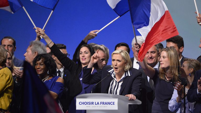 Ms Le Pen addresses supporters in Nice, south France