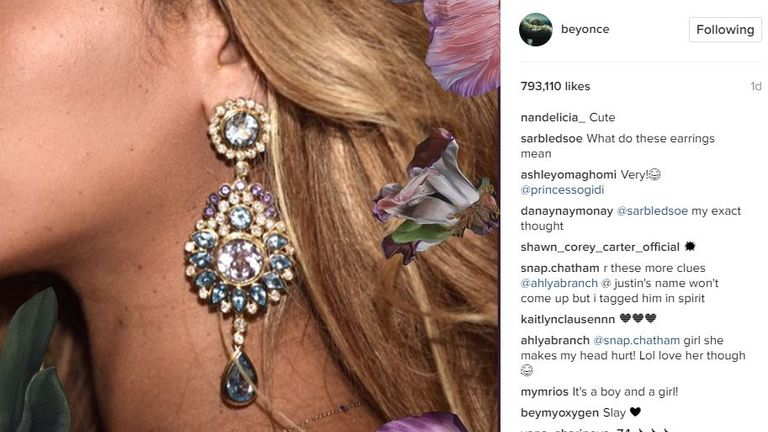 Bey posted a photo of the same earrings she were in the video If I Were A Boy