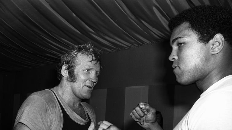 British Heavyweight champion Richard Dunn meets Muhammad Ali at Quaglino's gym
