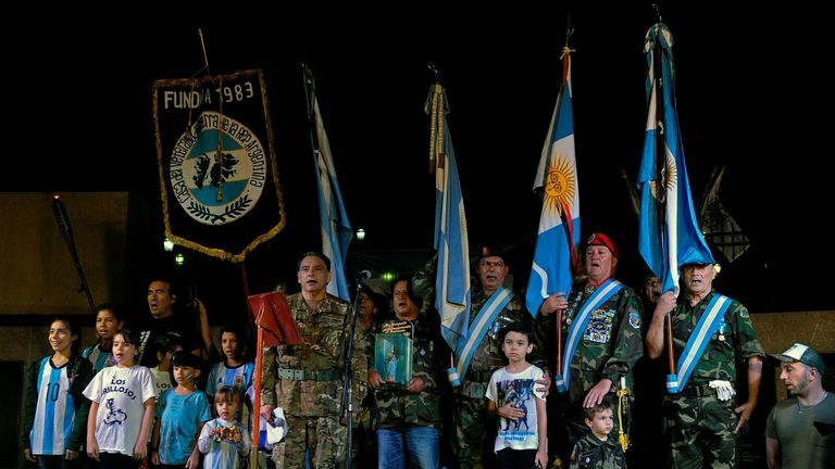 Veterans of the 1982 Falklands War mark the 35th anniversary of the war in Buenos Aires, Argentina
