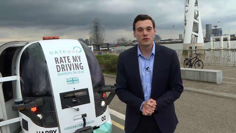 Joe Tidy with a driverless car in Greenwich
