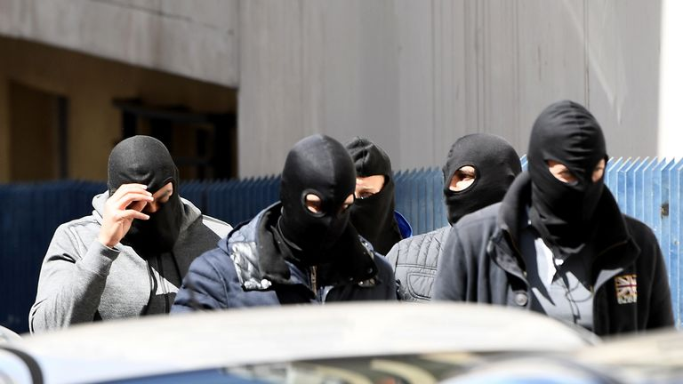 Police seen after the raid in Marseille