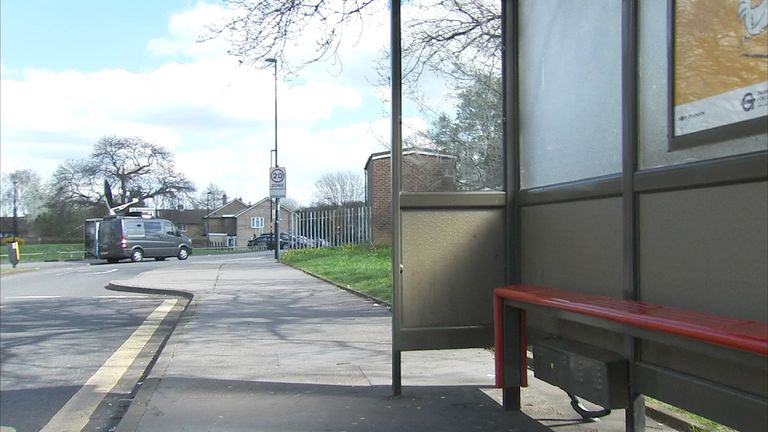 The bus stop where the attack happened