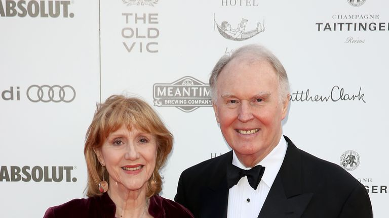 Tim Pigott-Smith and his wife Pamela Miles at The Old Vic theatre in 2015